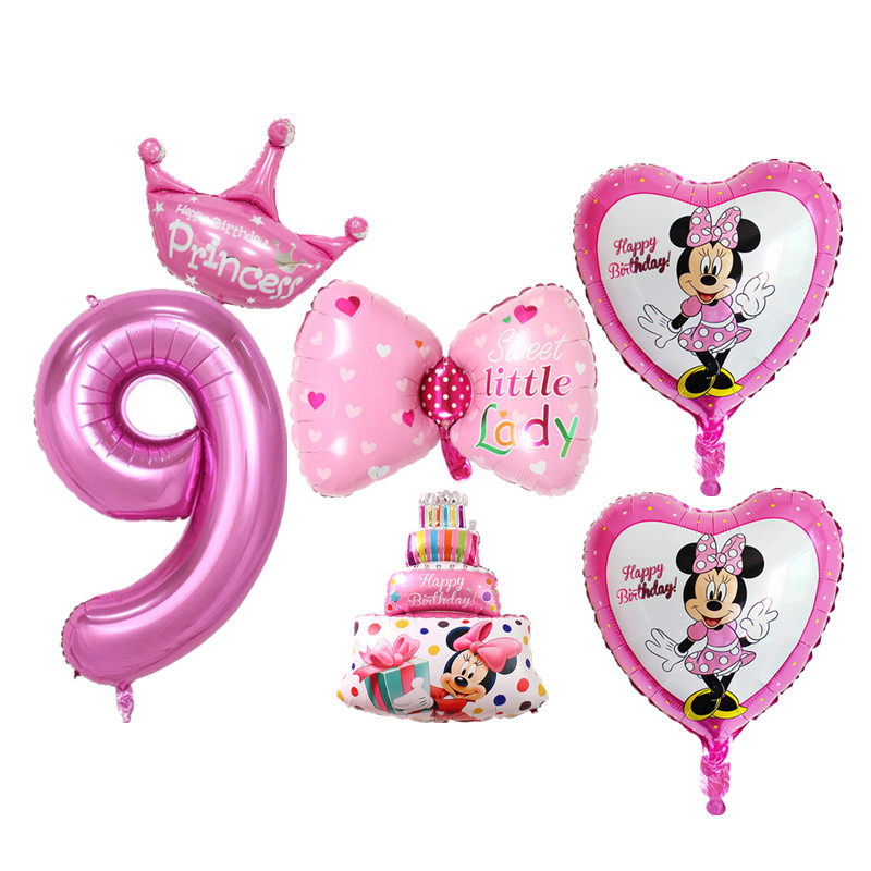 6pcs Set Pink Blue 9 Years Old Birthday Balloons Crown Cake Digital Foil For Boy Girl Party Decoration