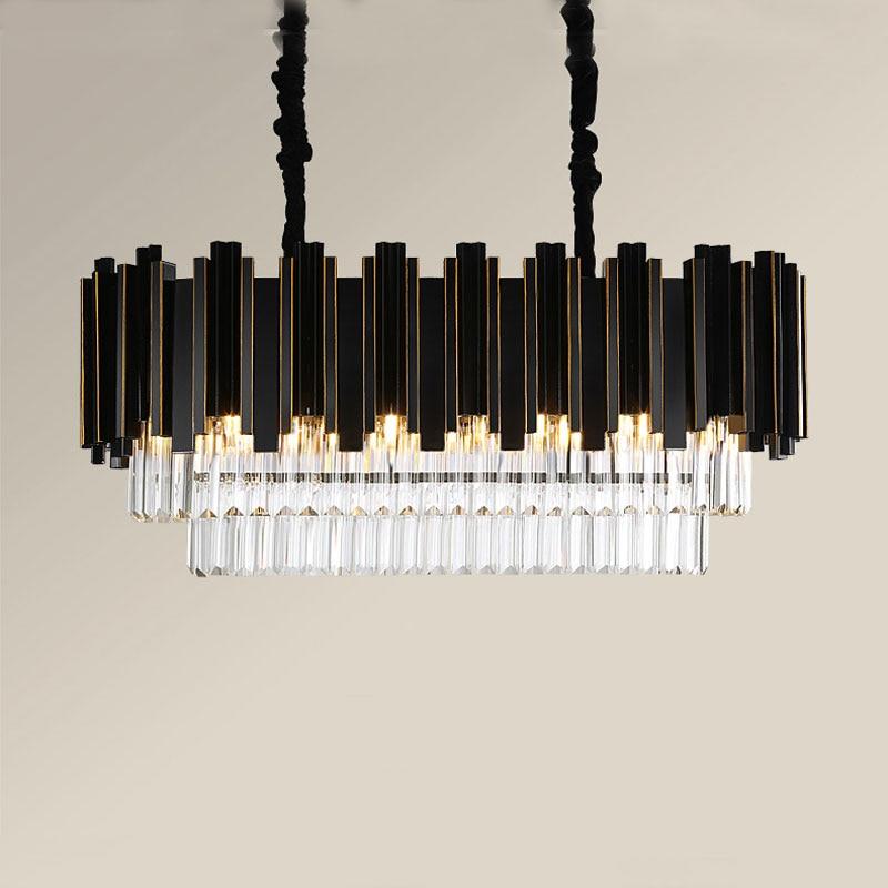 Lustre en cristal lumière LED luxe post-moderne en métal noir rectangulaire personnalité créative style nordique luminaire