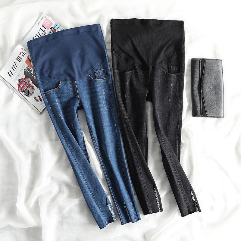New Pregnant Women Clothes Elastic Waist Maternity Pants Abdominal Pregnancy Jeans Stretch Leggings Clothing Nine Points Jeans
