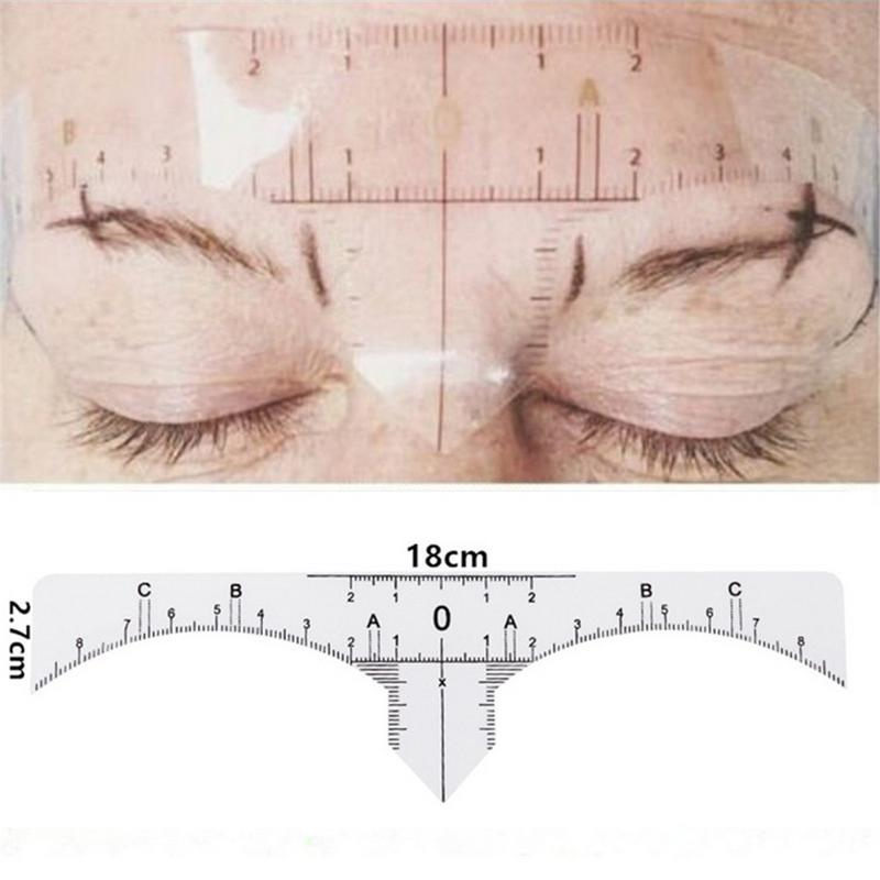 10pcs/set Disposable Eyebrow Ruler Stickers Stencil Make-Up Brow Measuring Guide Ruler Tool Kit Easy To Stick On And Tear Off