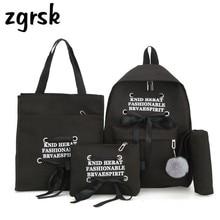 4Pcs/Set Korean Casual Women Backpacks Nylon Book Bag Letter Schoolbag For Teenage Girls Composite Bag Mochila Floral Backpack