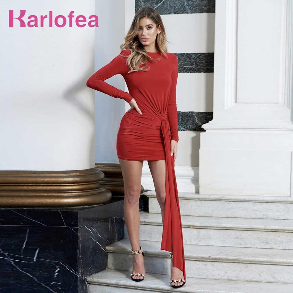 Karlofea Vrouwen Elegant Cocktail Party Dress Sexy Backless Lange Mouwen Bodycon Mini Jurk Chic Dames Knoop Herfst Winter Jurken