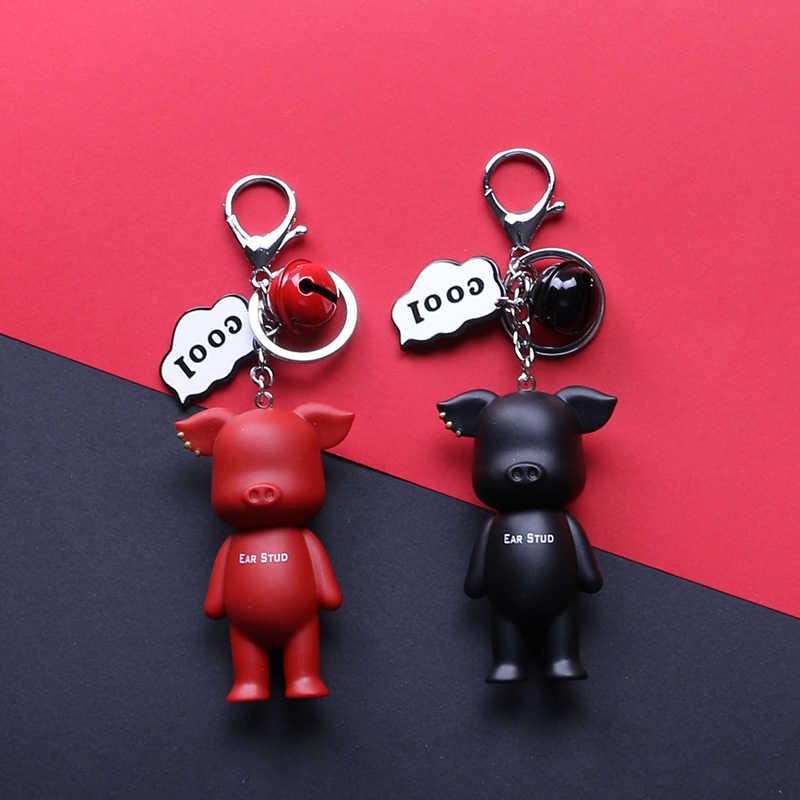 Preto Vermelho Prata Ouro Casais Porco Zodíaco Chinês Saco Fresco Letters Chave Do Carro Anel Animal Bonito Ama Sorte Keychain Dos Namorados presente
