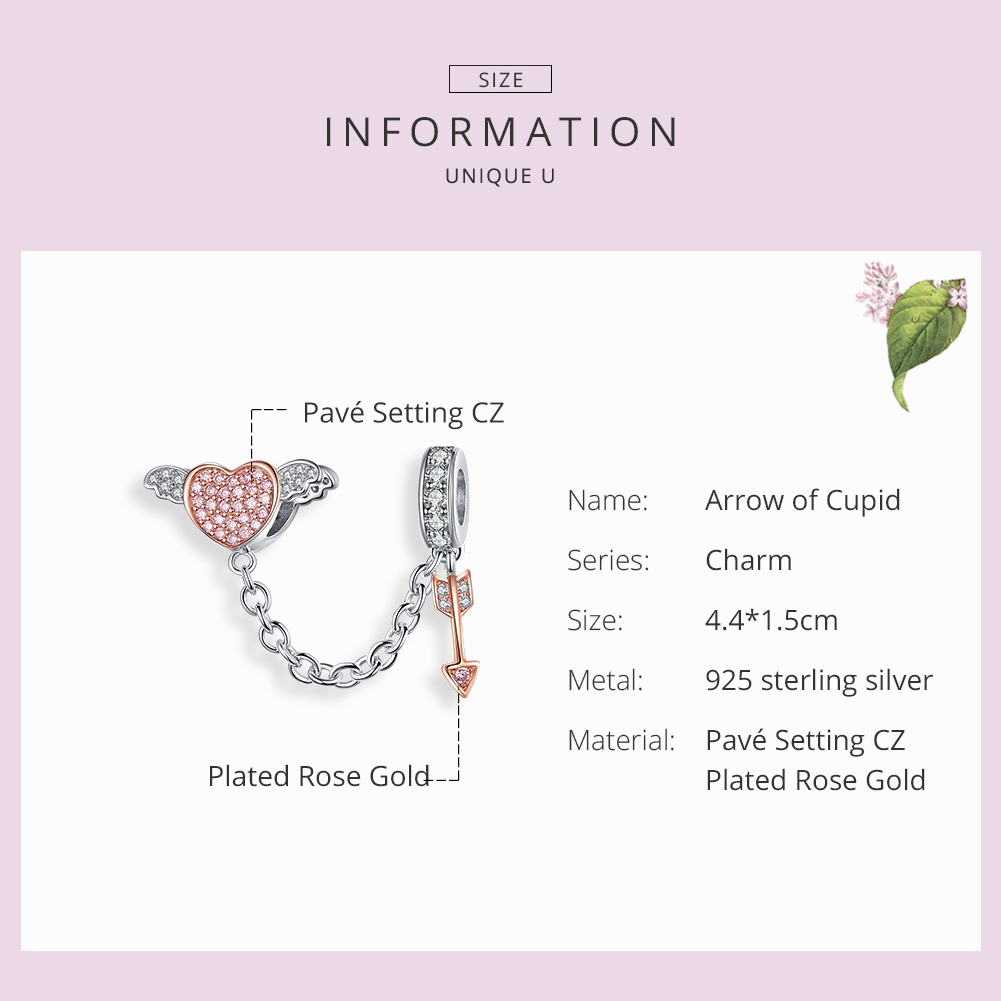 WOSTU Heart Wings Arrow Safety Chain 925 Sterling Silver Beads Fit Original Bracelet Pendant Silver 925 Jewelry Charms CQC1208