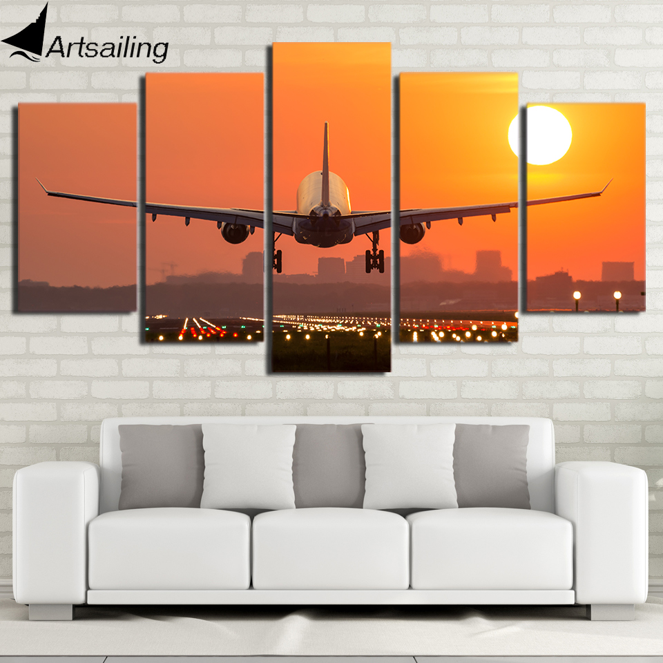 HD Printed 5 Piece Canvas Art Airplane Sunset Canvas Painting Wall Pictures for Living Room Home Decor Free Shipping CU-2688C image