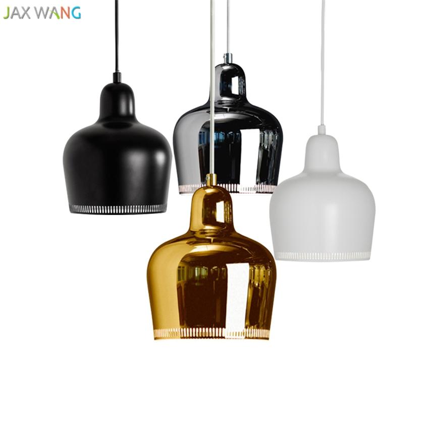 Denmark Nordic Artek Finnish Alvar Aalto Admiralty Bell Pendant Lights Bedroom Metal Luster LED Lamp Dining Room Bar De Fixtures
