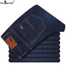 2019 Summer New Men's Thin Light Jeans Business Casual Stretch Slim Denim Jeans Light Blue Trousers Male Brand Pants Plus Size