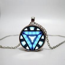 лучшая цена Iron Man Reactor Glass Necklace Handmade Family Photo Necklace DIY Jewelry Custom Glass Necklace Gift Triangle Mark