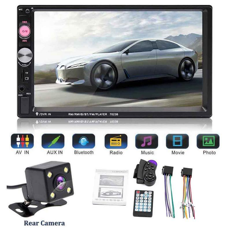 7inch HD Portable Double 2 Car Stereo Audio Bluetooth Touch MP5 Player USB FM font b