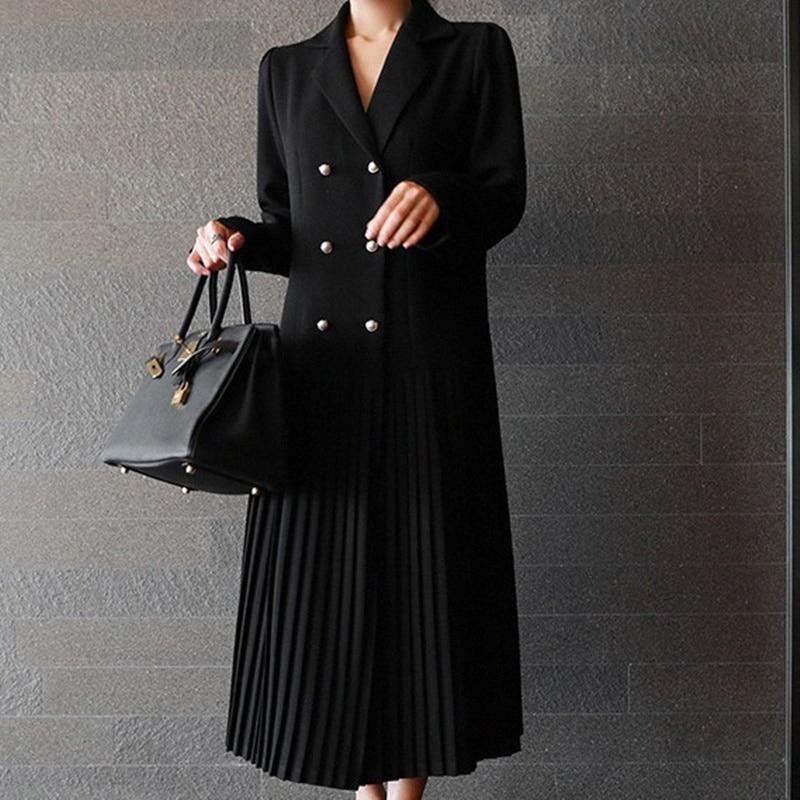 SHENGPALAE 2018 Autumn Korean New Black Double Breasted Pleated Full Sleeve V Collar Loose Fashion Mid