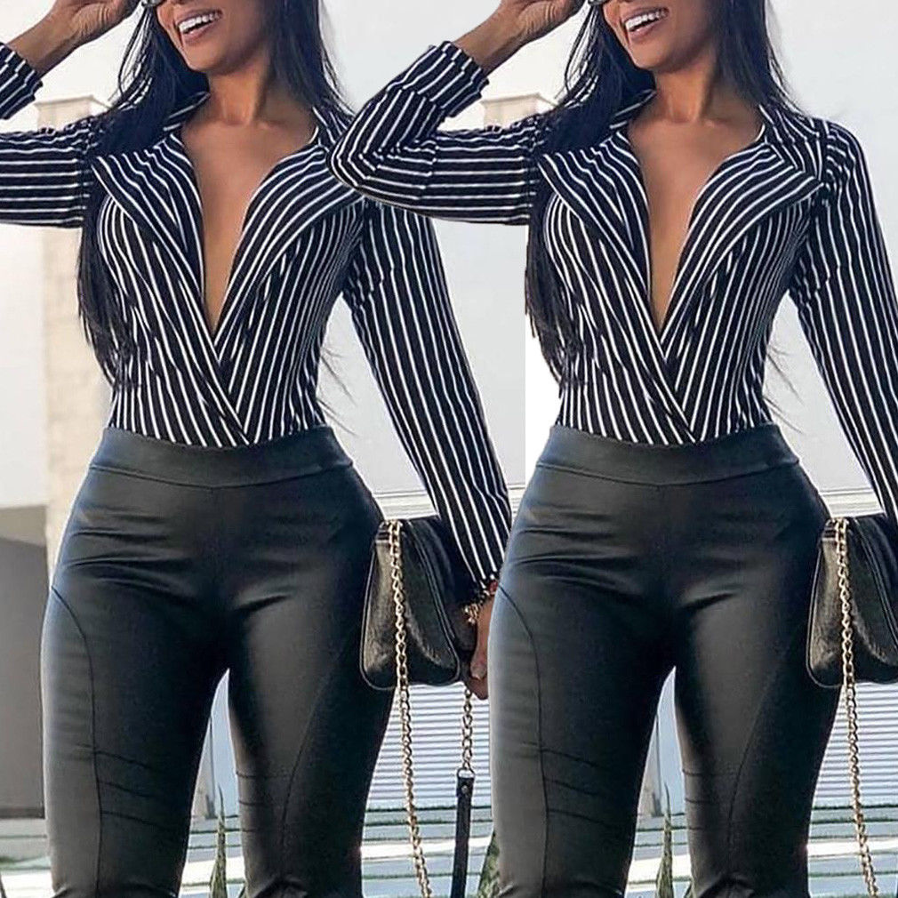 88e9776d7c9 Detail Feedback Questions about Women Loose Deep V Neck Sexy Blouse Striped  Long Sleeve Autumn Summer Top Ladies Sexy Club Shirt Women Fashion Blousa  on ...