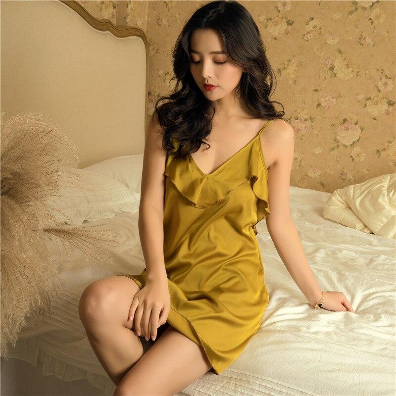 2019 Summer Satin Nightsuits Women Nightwear Nightdress Sexy Lingerie Silk Ladies Nightgowns Pijamas Nightdress Sleepshirts
