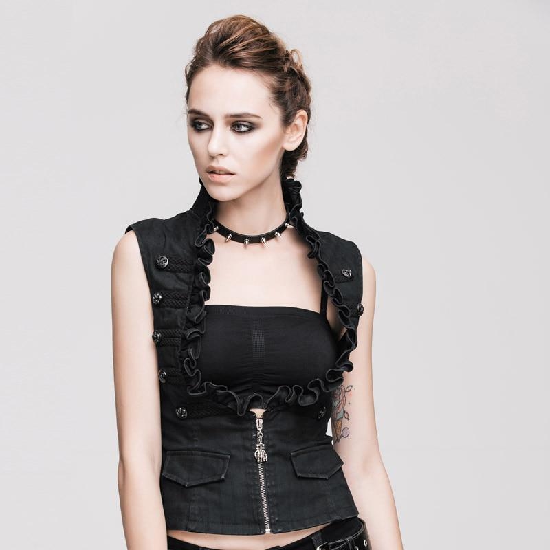 Devil Fashion есен зима стимпанк секси жени памучни жилетки готически черни якета без ръкави жилетки