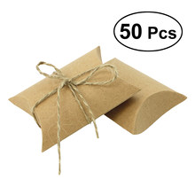 50pcs Gift Wrap Pillow Candy Boxes Craft Paper Candy Wedding Party Favor For Holiday Decor(China)