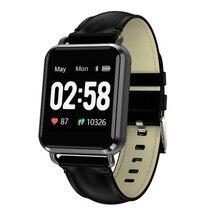 Купить с кэшбэком Smart watch Fitness Bracelet Heart Rate Monitor Tracker Calendar Wristband ECG PPG Blood Pressure watches leather band alarm