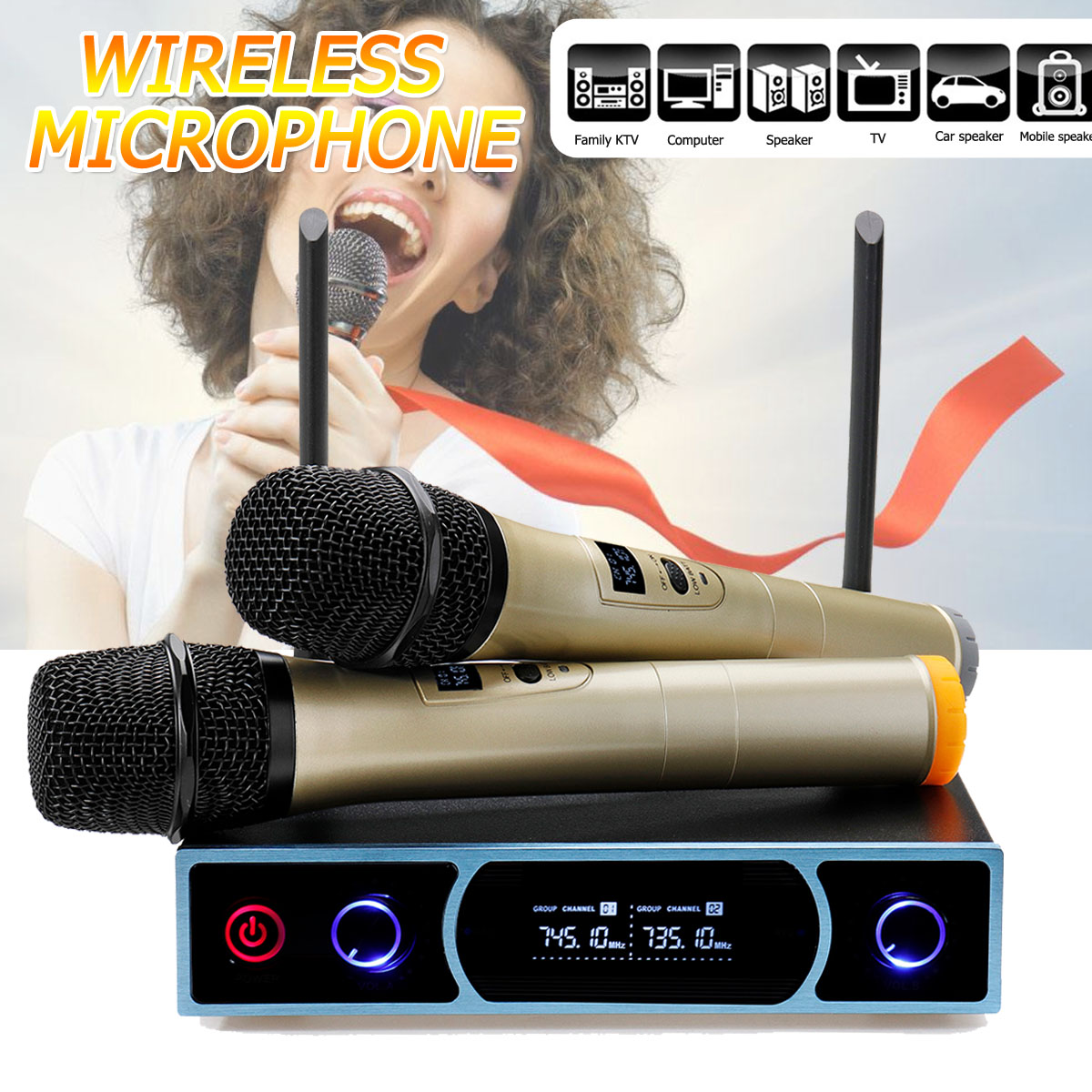 KINCO VHF Wireless Microphone System LCD Display Receiver Family Video Handheld Mic Party KTV Karaoke Power Amplifier SystemKINCO VHF Wireless Microphone System LCD Display Receiver Family Video Handheld Mic Party KTV Karaoke Power Amplifier System