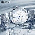Мужские часы  Роскошные Кварцевые часы  мужские повседневные тонкие стальные водонепроницаемые спортивные часы  часы бренда Jenise  2018