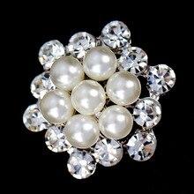 Fashion Simulated Pearl Rhinestones Flower Brooches for Women Wedding Elegant Crystal Pin