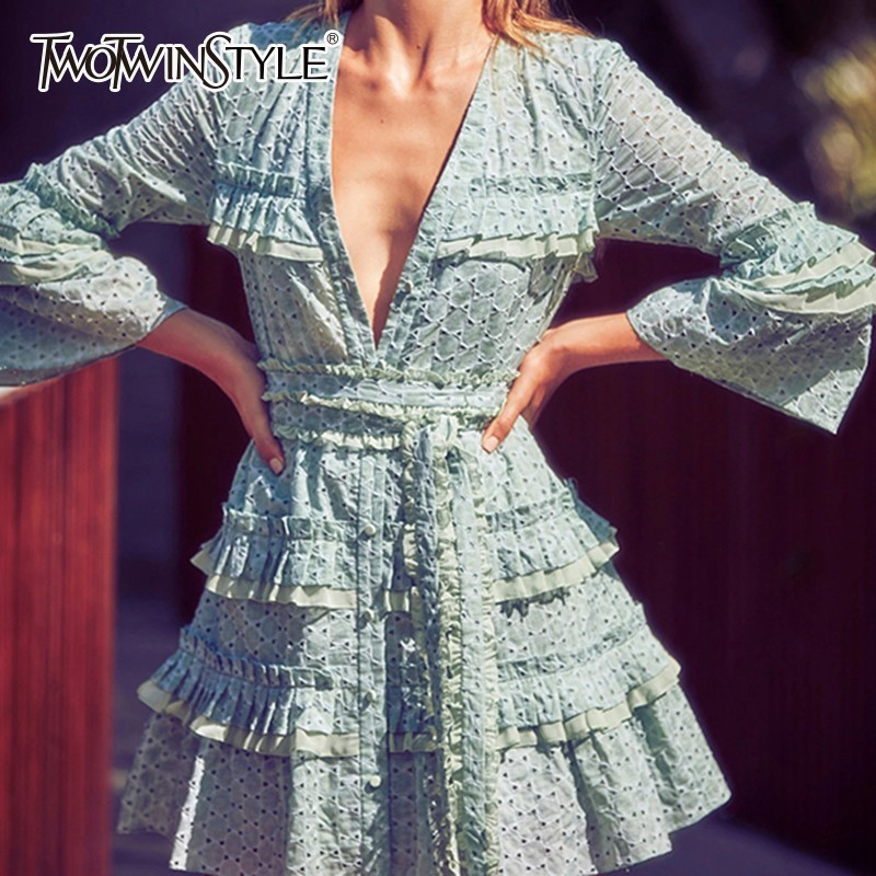 TWOTWINSTYLE Elegant Dresses For Women V Neck Flare Long Sleeve High Waist Bandage Dress Female 2019
