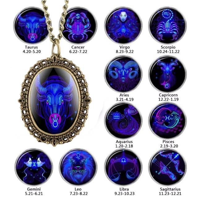 New 12 Constellation Astrology Oval Pocket Watch Unique Fluorescent Blue Zodiac Necklace Pendant Quartz Birthday Gift For Friend