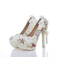 2018 г. свадебное платье в классическом стиле обувь для невесты с белым жемчугом вечерние туфли лодочки на высоком каблуке 5 дюймов из высокок