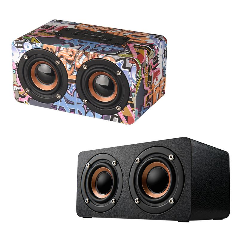 Graffiti Wooden Player Wireless Bluetooth Speaker Desktop Home Audio Street Dance Fashion Audio Stereo Hd Hifi Sounds Devices-in Portable Speakers from Consumer Electronics