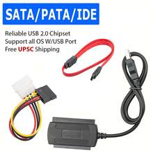 "For Hard Drive Disk 2.5"" 3.5"" SATA/PATA/IDE to USB 2.0 Adapter Converter Cable USB 2.0 to IDE Sata Adapter r60(China)"