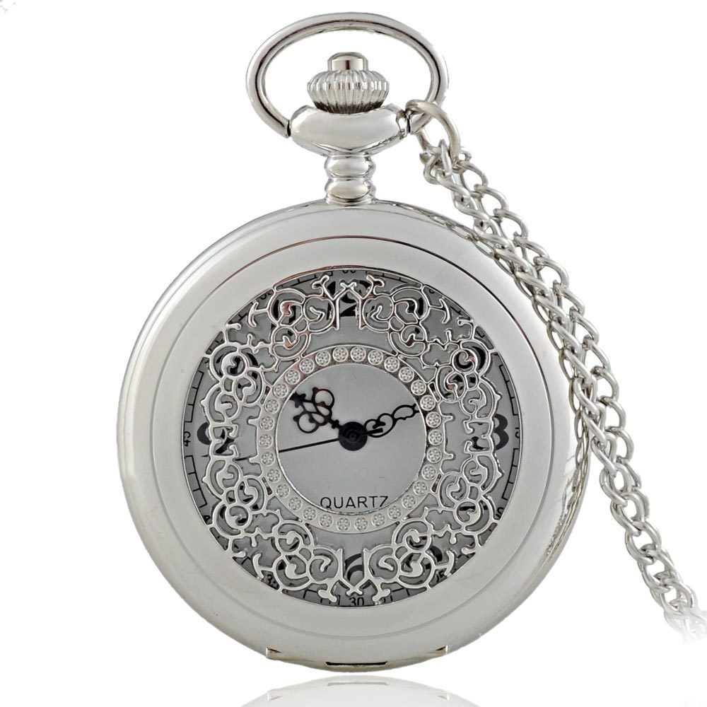 Hollow Silver Theme Full Hunter Quartz Engraved Fob Retro Pendant Pocket Watch Chain Gift