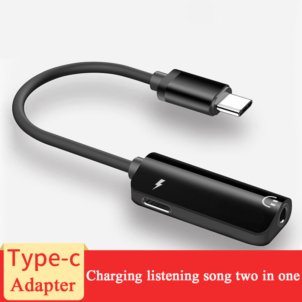 Type C Audio Adapter 2 In 1 Type-C To 3.5mm Jack Earphone Audio Converter Cable For Samsung S8 Huawei Mate 9 LG G5 G6 Xiao Mi 6