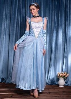 Halloween Blue Long Dress Princess Fancy Dress Hen Party Cinderella Snow Princesses Costume cinderella cinderella long cold winter 180 gr