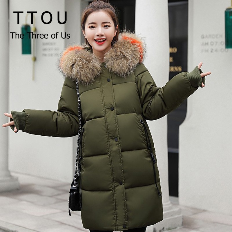 TTOU Fashion   Parka   Women Winter Hat Colored Collar Big Fur Down   Parka   Thicken Long Coat Casual Hooded Jacket Overcoat Size 3XL