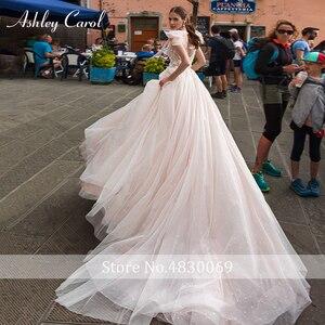 Image 2 - Ashley Carol A Line Hochzeit Kleid 2020 Romantische Perlen Tüll Prinzessin Braut Backless V ausschnitt Appliques Strand Boho Brautkleid