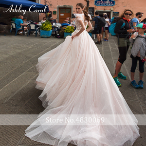 Image 2 - Ashley Carol A Line Wedding Dress 2020 Romantic Pearls Tulle Princess Bride Backless V Neck Appliques Beach Boho Bridal Gown