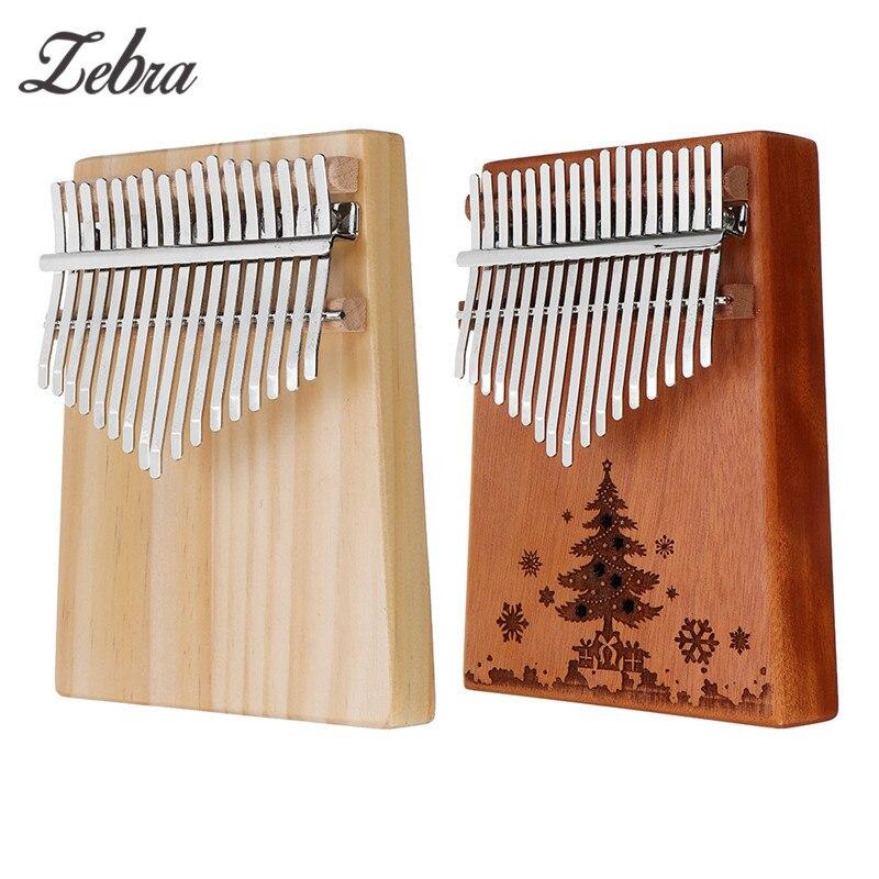 Zebra 17 Tasten Holz Kalimba Mahagoni/Birke Daumen Klavier Finger Percussion Tuning Hammer mit Weihnachten Baum Muster Finger Klavier
