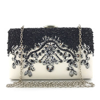 2019 Vintage Women Clutch Evening Bag Hand Black Beaded Embroidery Small Diamond Unquie Hasp Classical Wedding Purse Party B009