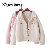 Pink Fur Coat Lamb Women Streetwear Fleece Jacket  Wool Short Womens Winter Coats Single-Breased Vintage