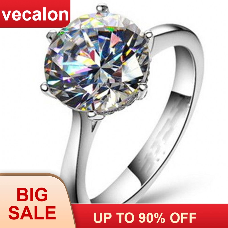 Vecalon 2016 Brand Female Solitaire ring 4ct AAAAA Zircon cz 925 Sterling Silver Engagement Wedding ring för kvinnor