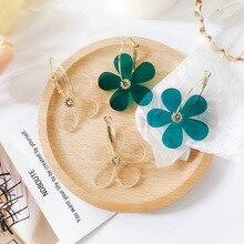 Hottest Fashion New Acrylic Five Leaves Flowers Brincos Oorbellen Bijoux Geometric Circle Hoop Earrings For Women Jewelry