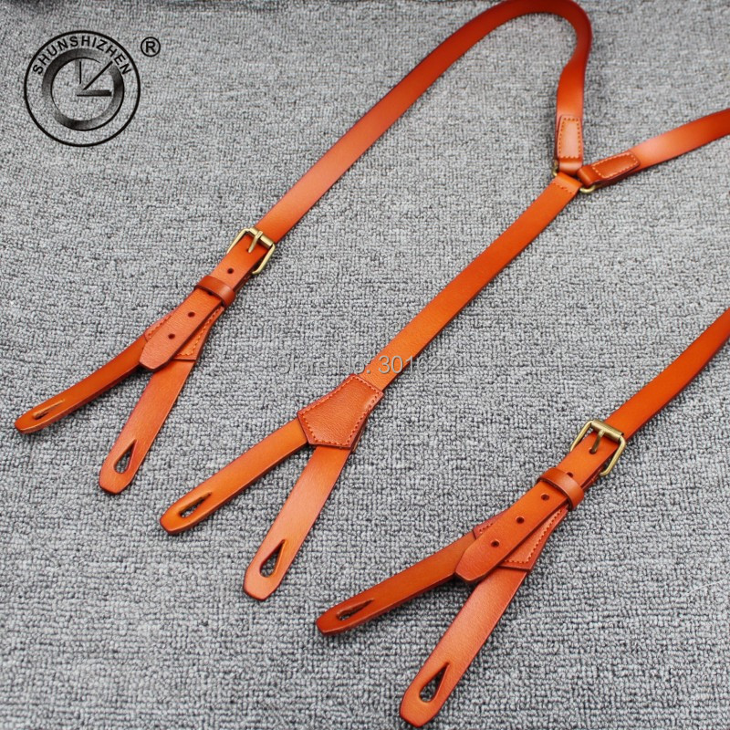1.7cm High Quality Real Cowhide Split Leather Strap Women Men Unisex Button Suspenders