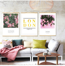 with Wooden Frame Scandinavian Nordic flowers Wall hanging scroll Canvas Painting Prints Picture Home Decor