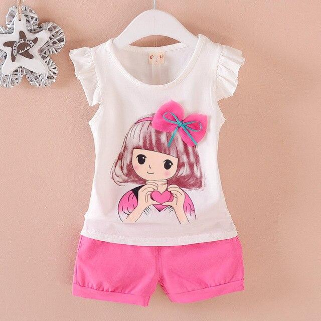12b6ecd696fa9 2019 New Summer Children Clothing Cotton Short Sleeve Sets Boys Girls Cute  T-shirt 2Pcs