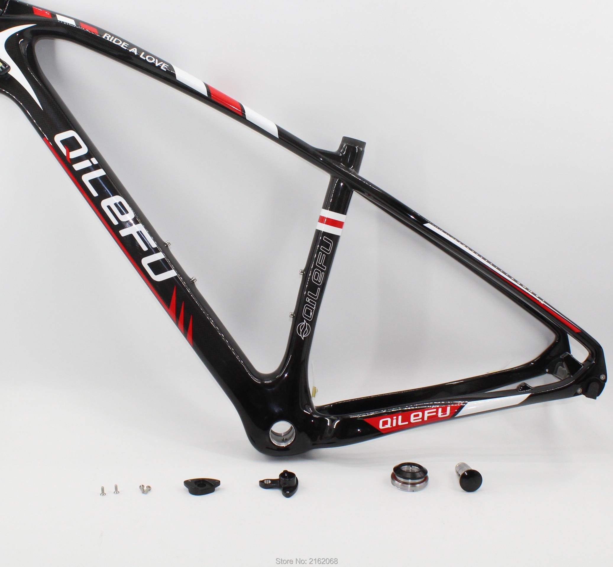 SALE New QILEFU 27.5/29er*15.5/17.5/19 inch Mountain bike 3K UD full carbon fibre bicycle thru axle frame MTB headset Free ship