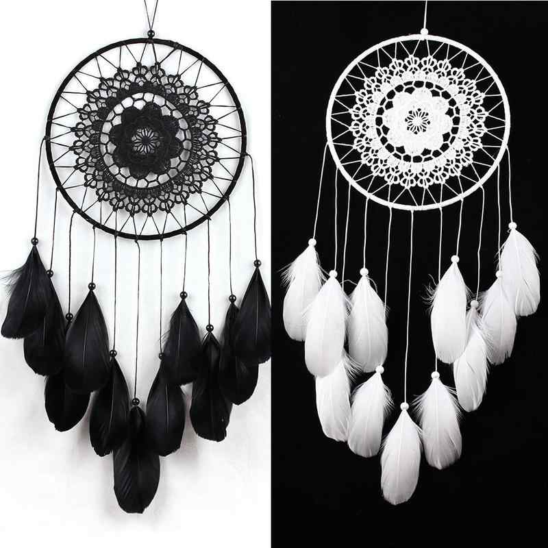 Indian Handmade Dream Catcher Sincere Weaving Catching Up The Dream Angle Fashion Available In Black And White