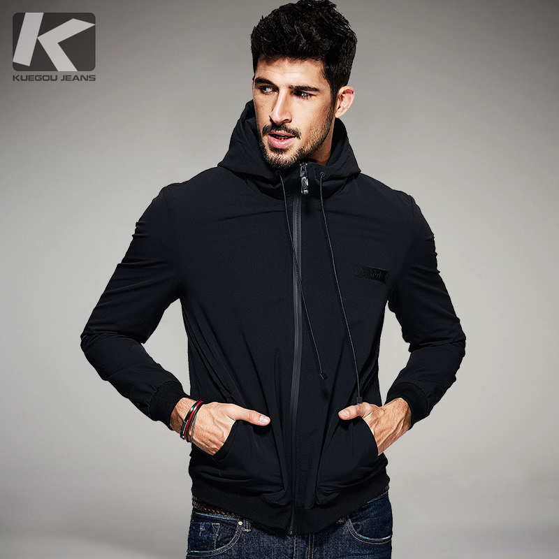 KUEGOU ฤดูใบไม้ผลิใหม่ Mens Casual เสื้อแจ็คเก็ตและ Coats สีดำ Hooded แบรนด์เสื้อผ้าชายเสื้อผ้าชาย Plus ขนาดเสื้อ 2078-ใน แจ็กเก็ต จาก เสื้อผ้าผู้ชาย บน   1