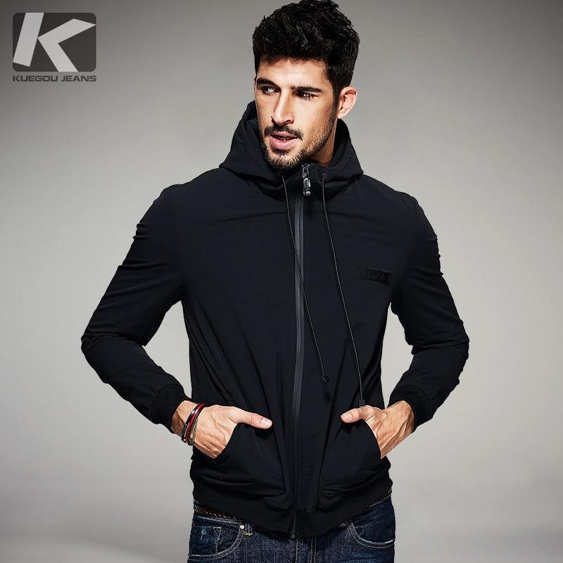 KUEGOU Nieuwe Lente Mens Casual Jassen Zwart Hooded Merk Kleding Man Slanke Kleren Mannelijke Wear Plus Size tops 2078-in Jassen van Mannenkleding op  Groep 1