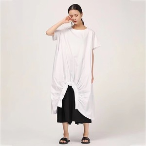 Image 4 - Женское Повседневное платье CHICEVER, однотонное свободное платье до середины икры с круглым вырезом, коротким рукавом, драпировкой и разрезом на подоле размера плюс, новинка 2020