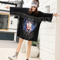 Vefadisa Black Tassel Dress Women Character Printing Dress Black T Shirt Dress Women O Neck Loose T Shirt Tops ZLD845