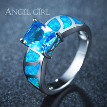 Angel Girl Natural Australia Blue Opal Rings for women White Gold Color Engagement Wedding Rings R64-60822(China)