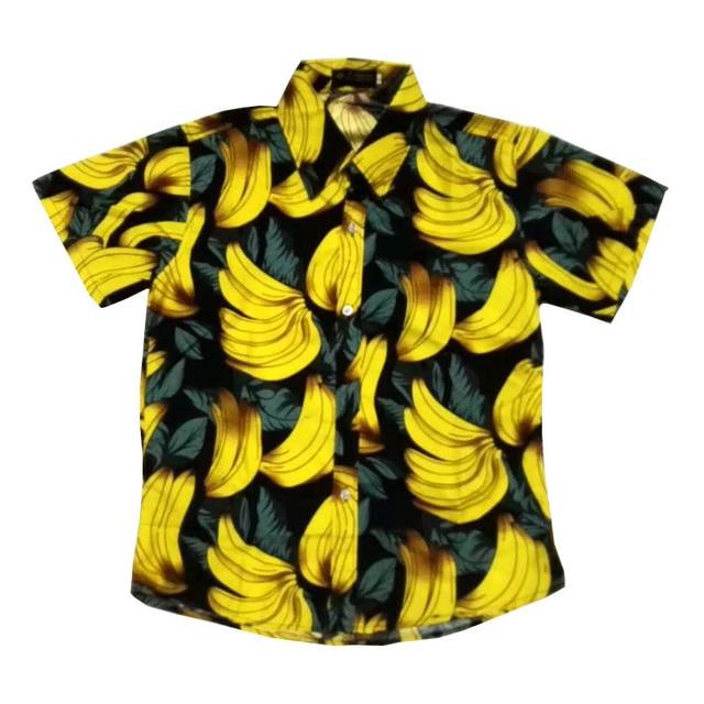 FDWERYNH Hawaiian Men's Fruit Printing Casual Blouses Banana Beach Short Sleeves Cotton Shirts Top Camisas Plus Size M-3XL