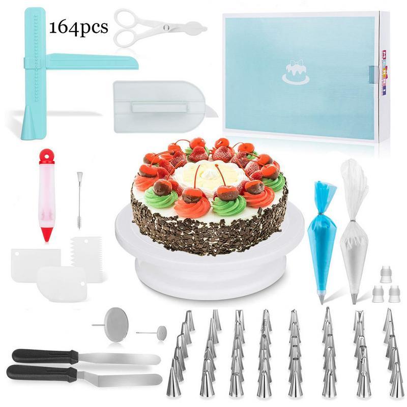 164pcs DIY Baking Cake Turntable Set Cake Fondant Decoration Tool Scrapers Spatula Nozzles Pastry Kitchen Baking Cake Tool
